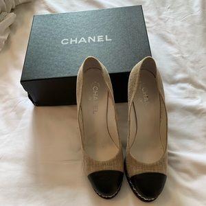 Women s Black Chanel Cap Toe Heels on Poshmark eca24c550